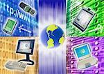 Globus, Handy, elektronischen Organisatoren, Laptop, Computer-Binärcode und Internet-Adresse