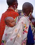 Two Masai Women with Child Outdoors, Kenya, Africa