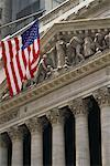 New York Stock Exchange and American Flag New York, New York, USA