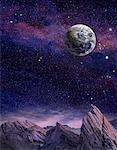 Vue de la terre dans l'espace du paysage extraterrestre