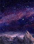 Paysages exotiques et ciel étoilé