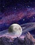 Vue de la planète aux anneaux dans l'espace du paysage extraterrestre