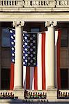 American Flag Hanging from City Hall Savannah, Georgia, USA