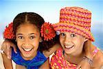 Portrait of Two Girls in Swimwear Outdoors
