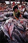 Woman Working at Fish Market Bangkok, Thailand