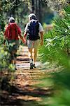 Vue arrière du Couple d'âge mûr de randonnée à travers bois, main dans la main