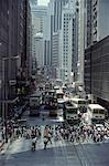 Busy Street ville et Trams Hong Kong