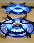 Gros plan des brûleurs à gaz