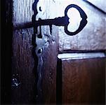 Close-Up of Door with Skeleton Key in Lock