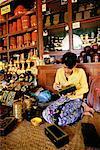 Woman Working in Lacquerware Shop Bagan, Myanmar