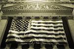 American Flag on New York Stock Exchange at Dusk New York, New York, USA