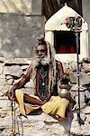 Mature Man Sitting Outdoors Jaipur, Rajasthan, India