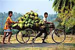 Deux hommes portant une charge de production sur le vélo, Havelock îles Andaman Islands, Inde