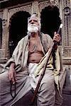 Mature Man Sitting Outdoors Jaisalmer, Rajasthan, India