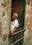 Mature Woman Standing in Doorway Havana, Cuba