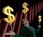 Homme d'affaires d'équilibrage des signes de Dollar