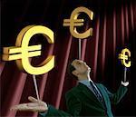 Businessman Balancing Euro Symbol