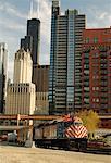 Train and Skyline Chicago, Illinois, USA