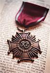 Krieg-Medaille auf Buch