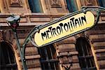 Subway Station Entrance Sign Paris, France