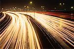 Traffic on Highway 401 at Night, Toronto, Ontario, Canada