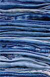La pile de vieux Jeans