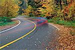 Streifen Lichter auf Road, Mount Tremblant, Quebec, Kanada