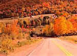 Route rurale à l'automne, Margaree Valley, Nouvelle-Écosse, Canada