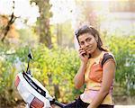 Woman Using Cell Phone Pune, Maharashtra, India