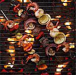 Brochettes sur le barbecue
