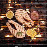 Pavé de saumon sur le barbecue
