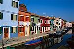 Houses along Canal Burano, Italy