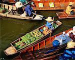Vue d'ensemble du flottant marché Damnoen Saduak Ratchaburi, Thailand