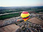 Hot Air Balloons over Suburb Albuquerque, New Mexico USA
