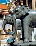 Thailand, Bangkok, bronze elephants in front of Royal Palace