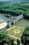 France, vallée de la Loire, le château de Chenonceau, vue aérienne
