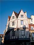 France, maison de Bourgogne, Dijon, avec des panneaux de bois