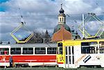 Czech Republic, Prague, Tramways and baroque dome
