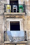 Portugal, Lisbonne, façade d'un immeuble ancien à Belem