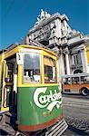 Portugal, Lisbon, Commerce square, tramway and Arco da Victoria
