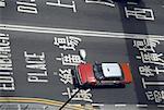 China, Hong Kong, red cab, high angle view