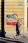 France, Provence, Marseille, La Canebière, grafittis sur un mur