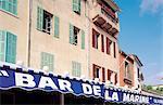 France, Provence, Marseilles, Bar de la Marine on harbour