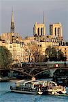 France, Paris, River-boat nearby the Arts bridge