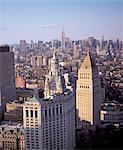 United States, New York, Manhattan at dusk, aerial view