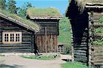 Norvège, Oslo, Musée de gens de Bygdoy, maisons en bois