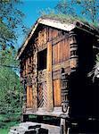 Grange en bois traditionnel de Norvège, Bergen,