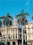 Cuba, Havana, Opera house and palm trees