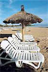 Indonesia, Bali, Nusa Dua beach, empty deck chairs