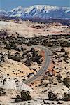 Route traversant Escalante désert Utah, USA